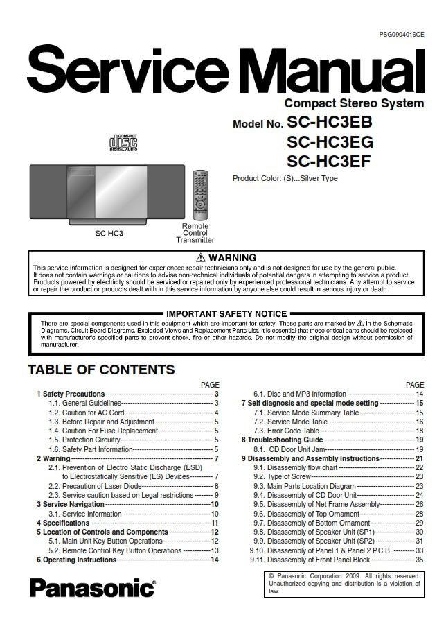 Panasonic Sc Hc3 E-series Service Manual  U0026 Repair Guid