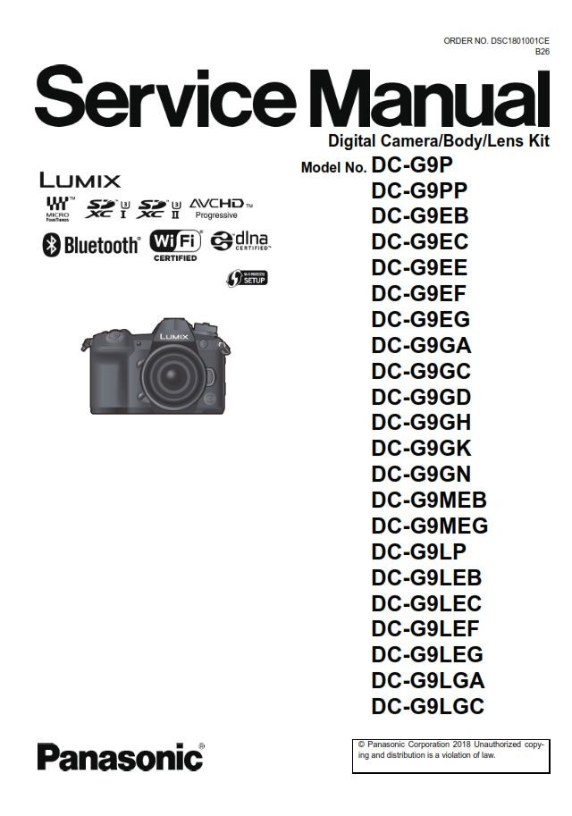 Panasonic Lumix DC G9 Camera Service Manual and Troubl