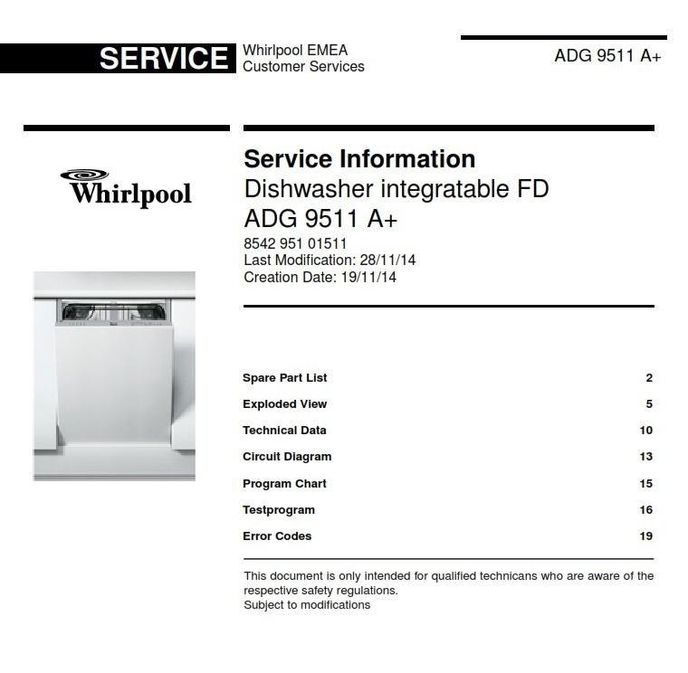 Whirlpool Adg 9511 A  Dishwasher Original Service Info