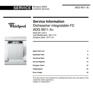 Whirlpool ADG 9511 A+ Dishwasher original Service Information Manual