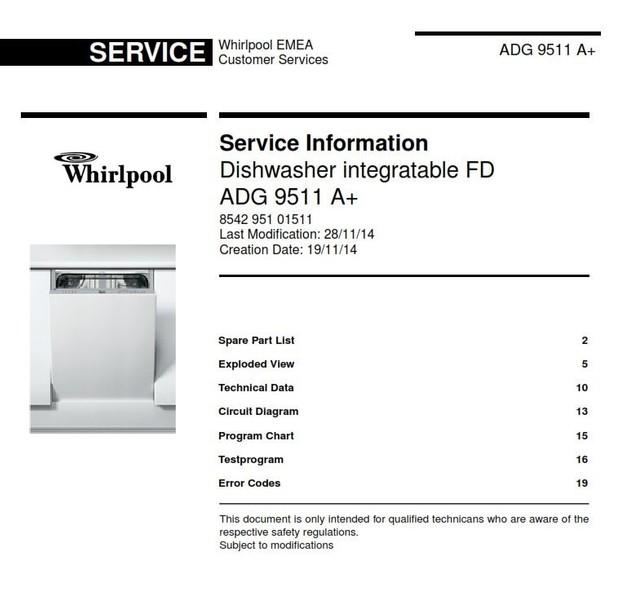Whirlpool ADG 9511 A+ Dishwasher original Service Information Manual