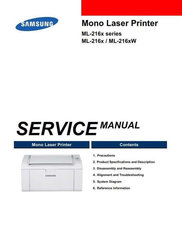 Samsung ML 2160 2165 2165W 2185 2185W Laser Printer Service Manual and Repair Instructions