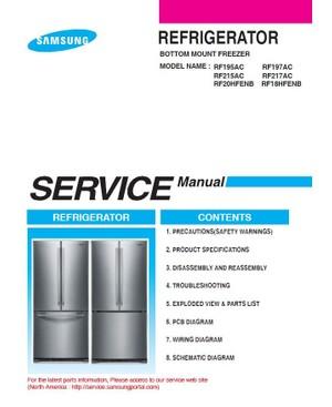 Samsung RF20HFENBSR RF20HFENBWW RF20HFENBBC Refrigeator Service Manual