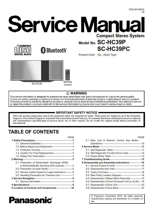Panasonic Sc-hc39 Hc39p Hc39pc Service Manual  U0026 Repair