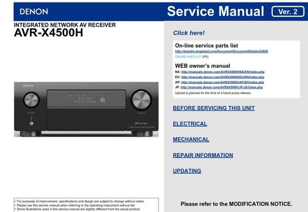Denon AVR-X4500H AV Receiver Service Manual
