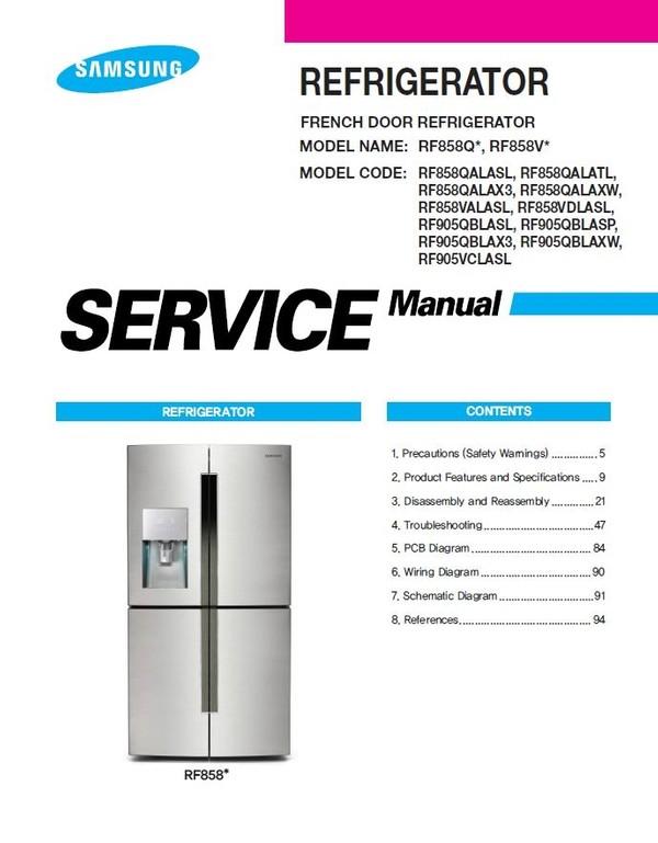 Samsung RF858VALASL RF858VDLASL Refrigerator Service Manua