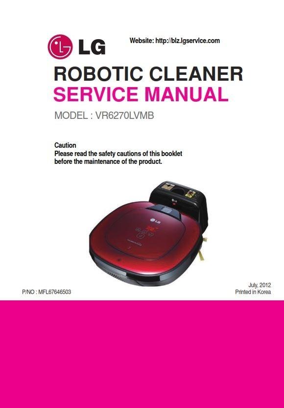 LG VR6270LVMB HomBot Robotic Vacuum Service Manual and Repair Instructions