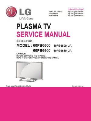 LG 60PB6600 UA Smart Plasma TV original Service Manual and Troubleshooting Guide