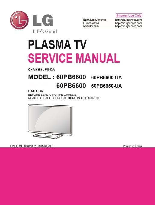 LG 60PB6600 UA Smart Plasma TV original Service Manual and Troubleshooting Guide