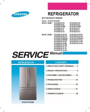 Samsung RF261BEAESG RF260BEAESG RF261BEAESL Service Manual and Repair Instructions