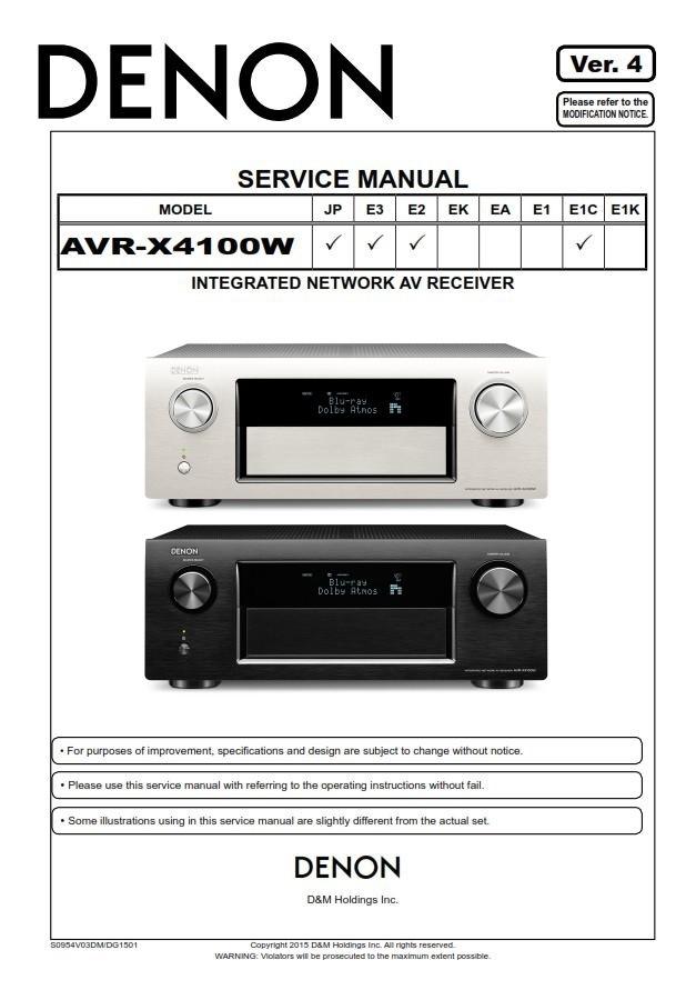 Denon AVR-X4100W AV Receiver Service Manual