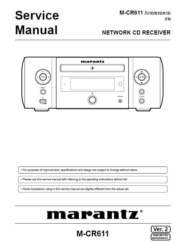Marantz Melody Media M-CR611 MCR611 CD Receiver Service Manual