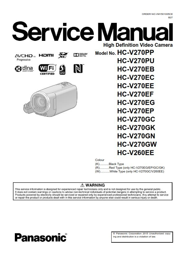 panasonic hc v270 v260 camcorder original service manu rh sellfy com Daystar Camera Mount Instruction Manual Pentax Camera Manual