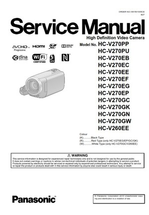 Panasonic HC V270 V260 Camcorder original Service Manual and Repair Instructions