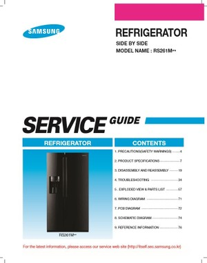 Samsung RS261MDRS Refrigerator Service Manual and Repair Instructions