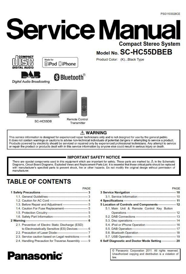 Panasonic Sc Hc55db Stereo System Service Manual  U0026 Rep
