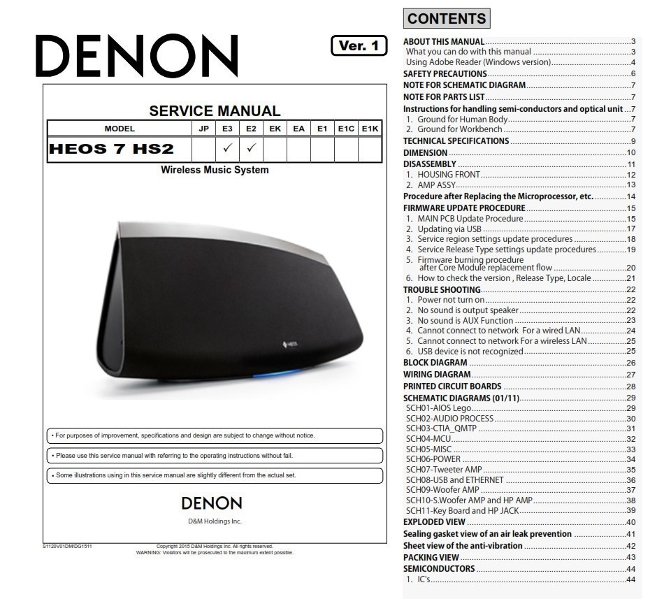 Denon HEOS 7 HS2 Wireless Speaker Service Manual and R