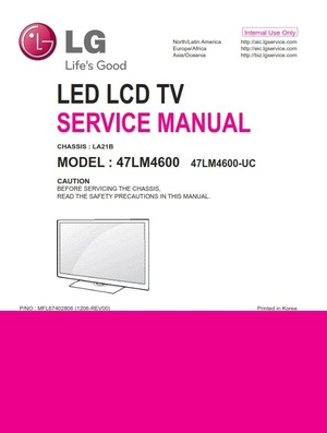 LG 47LM4600 UC 3D LED TV Service Manual and Troubleshooting Guide