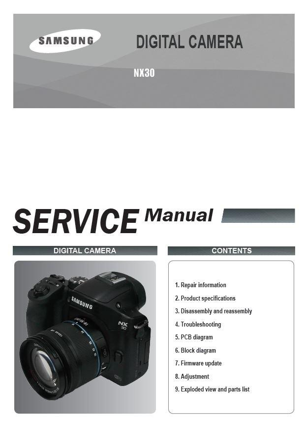 Samsung NX30 Mirrorless Digital Camera Service Manual and Repair Instructions