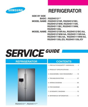Samsung RS25H5111SR RS25H5111BC RS25H5111WW Service Manual & Repair Instructions
