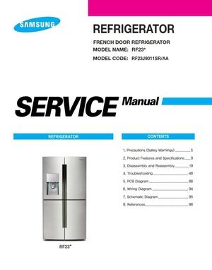 Samsung RF23J9011SR Refrigerator Service Manual & Repair Instructions