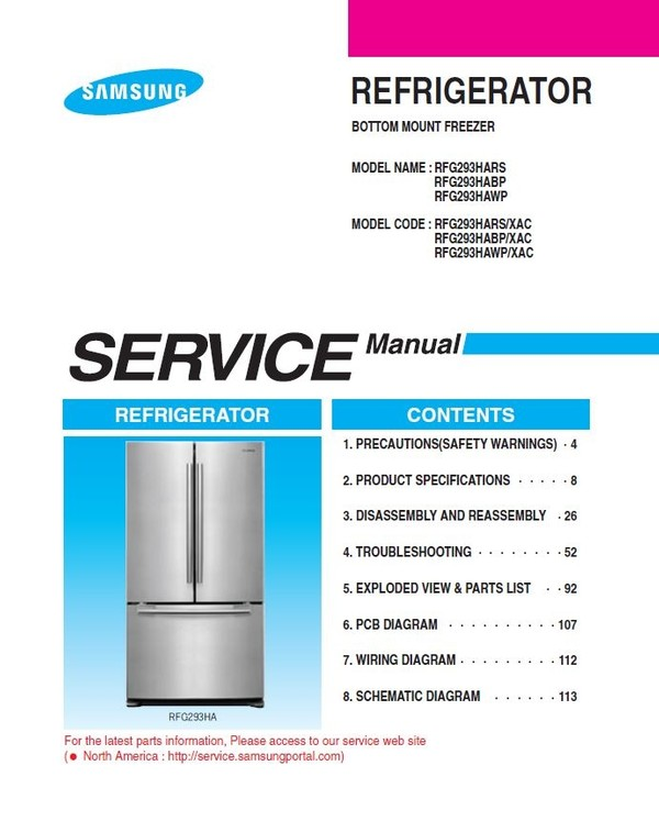 Samsung RFG293HARS RFG293HABP RFG293HAWP Refrigerator Service Manual