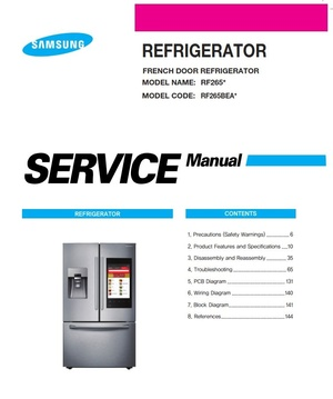 Samsung RF265BEAESG RF265BEAESR Service Manual and Repair Instructions