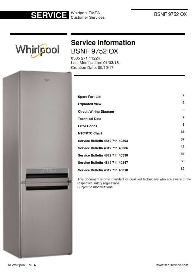 [ANLQ_8698]  Whirlpool BSNF 9752 OX Refrigerator Service Manual and - serviceandrepair | Wiring Diagram Freezerless Refrigerator |  | Sellfy