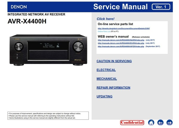 Denon AVR X4400H receiver original service manual and technical troubleshooting