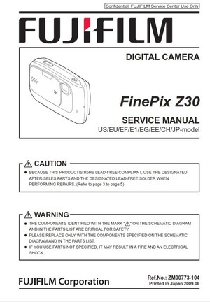 Fujifilm Finepix Z30 Service Manual and Repair Instructions