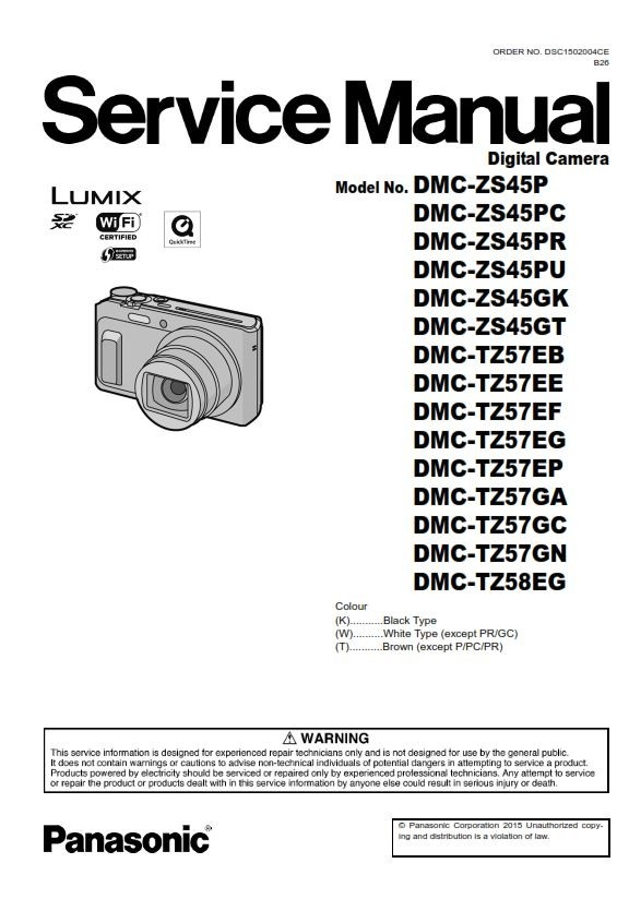 Panasonic Lumix DMC TZ57 TZ58 ZS45 Digital Camera Serv