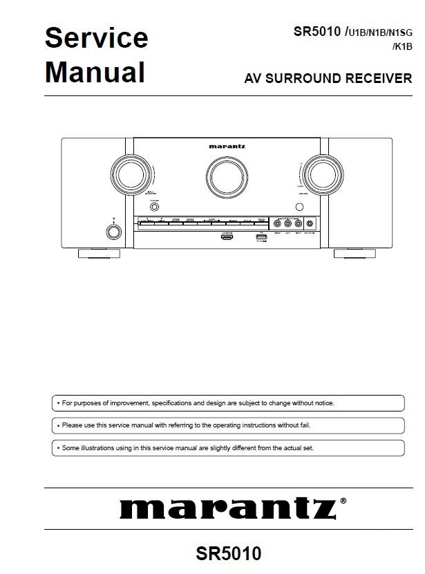 Marantz SR5010 Network AV Surround Receiver Service Manual & Repair Instructions