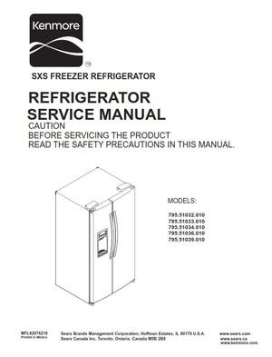 Kenmore 795. 51032 51033 51034 51036 51039 .010 models original Service Manual