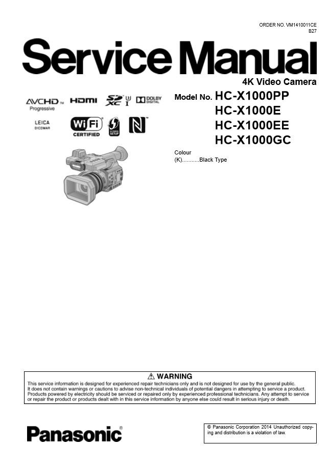 Panasonic Hc X1000 4k Camcorder Service Manual And Rep