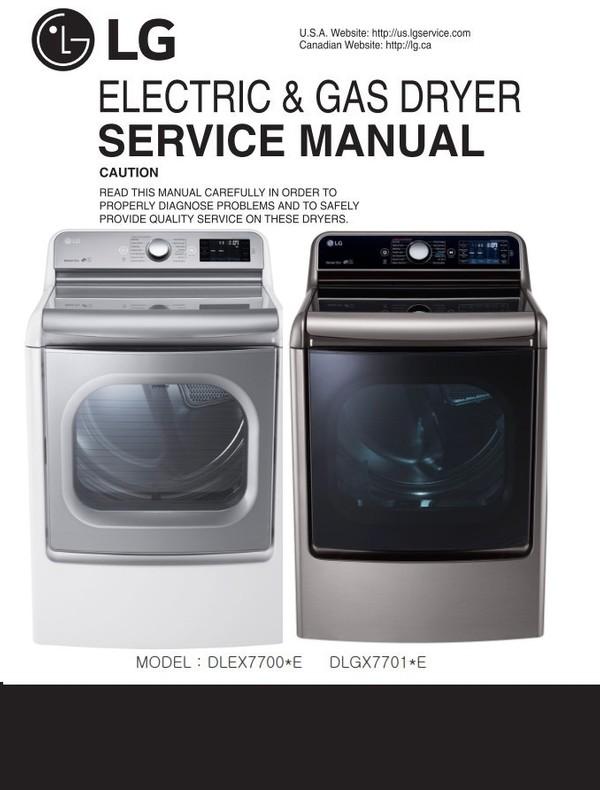 LG DLEX7700VE DLEX7700WE DLGX7701WE DLGX7701VE Dryer Service Manual