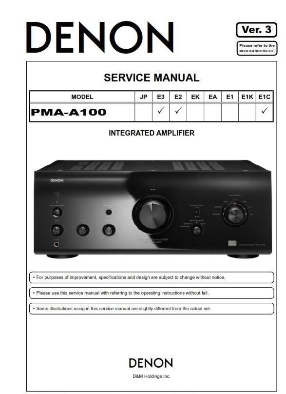 Denon PMA-A100 Amplifier Original Service Manual & Repair Instructions