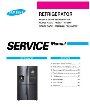 Samsung RF28M9580 RF28M9580SR RF28M9580SG Service Manual & Repair Instructions