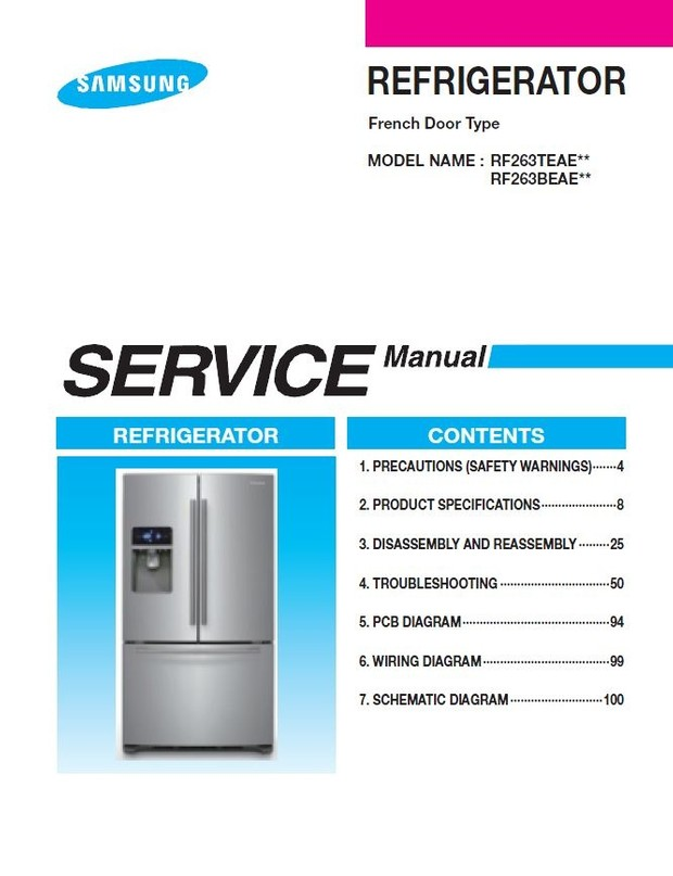 Samsung RF263BEAESR refrigerator Service Manual & Troubleshooting