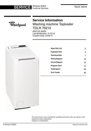 Whirlpool TDLR 70210 washing machine service manual