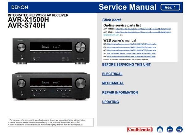 Denon AVR X1500H + S740H A/V Receiver Service Manual and Repair Guide