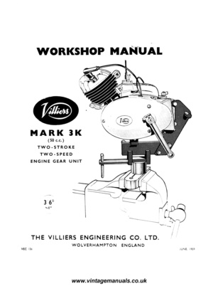 Villiers Mk3 F Motorcycle Engine Workshop Service and Repair Manual