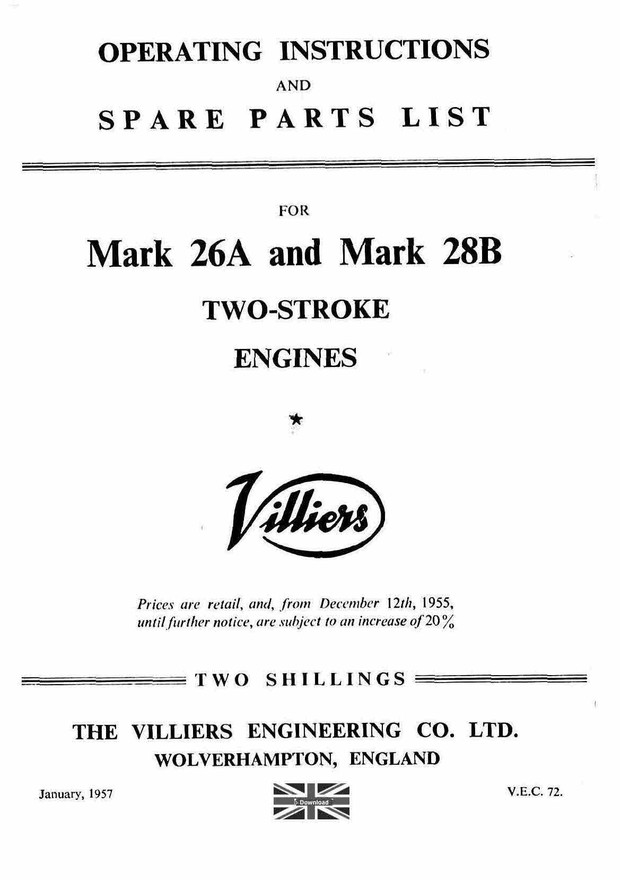 Villiers 26A & 28B Operation Maintenanceand illustrated Parts manual