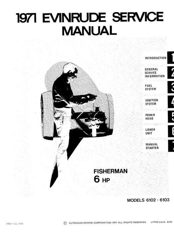 Evinrude – Johnson.1971 -- 6 Hp Models 6102 6103 Service and repair Manual 1971 -- 6 Hp