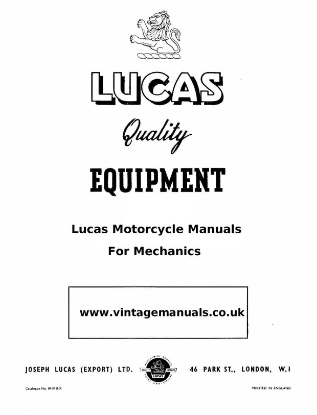 Lucas Electrical Motorcycle manuals for mechanics
