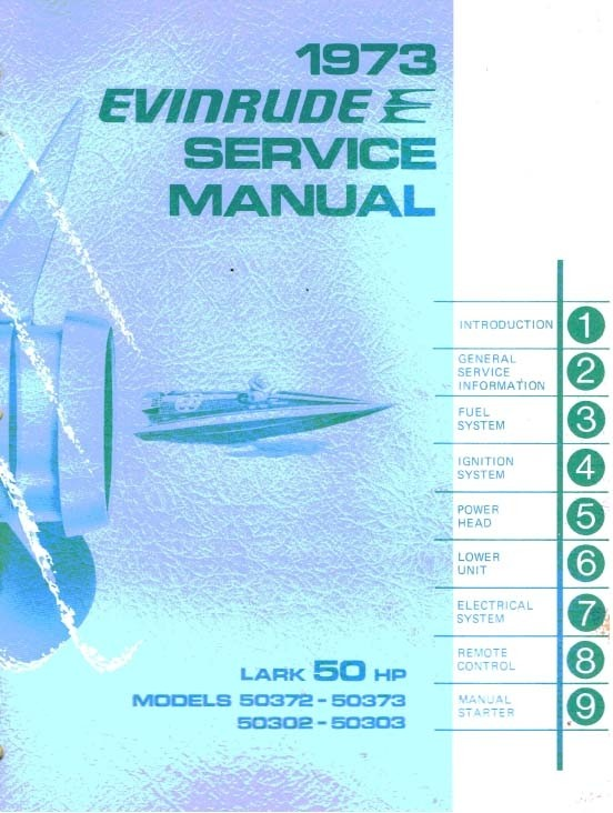 Evinrude Johnson 50 Hp 1973 Models 50372 50373 50342 50343