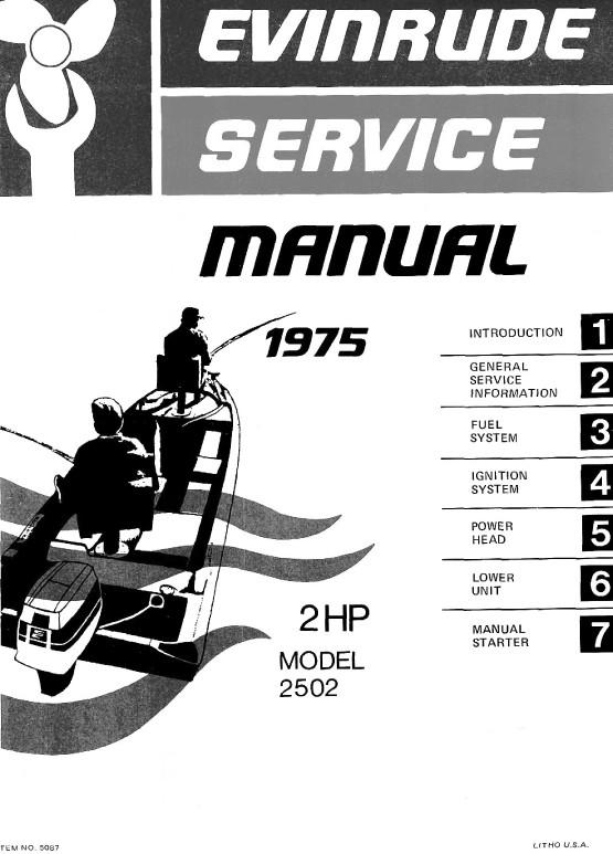 Evinrude 2 Hp mate 1975 Model 2502  2 Hp 1975 Workshop Service and Repair