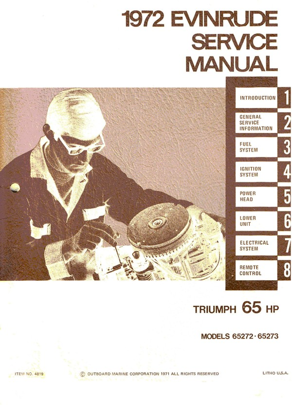 Evinrude – Johnson.1972 -- 65 Hp Models 65272 65273  Service and repair Manual 1972 -- 65 Hp