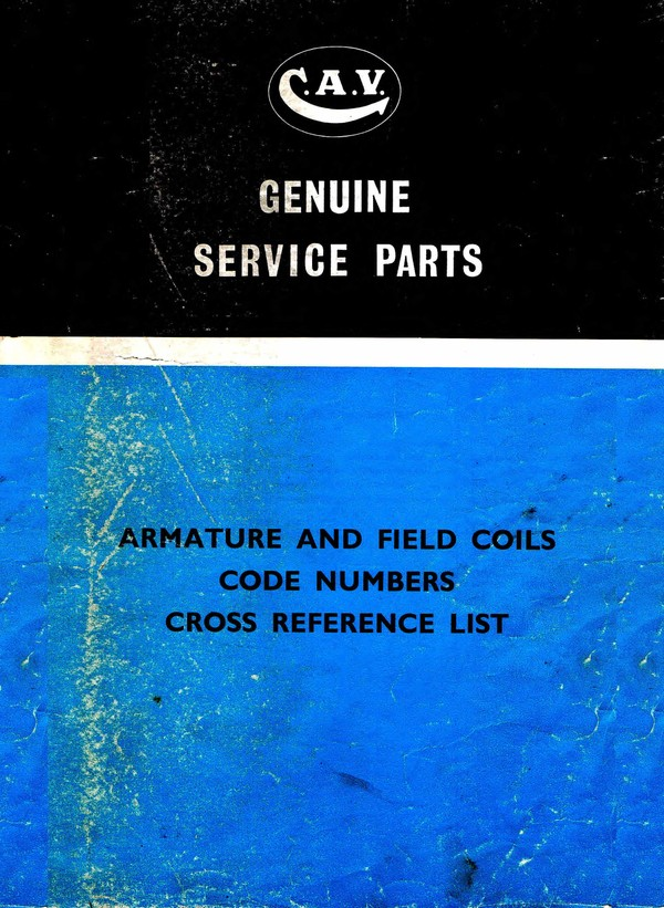Cav Armature - Field Coils Code Numbers Cross Referrrance List