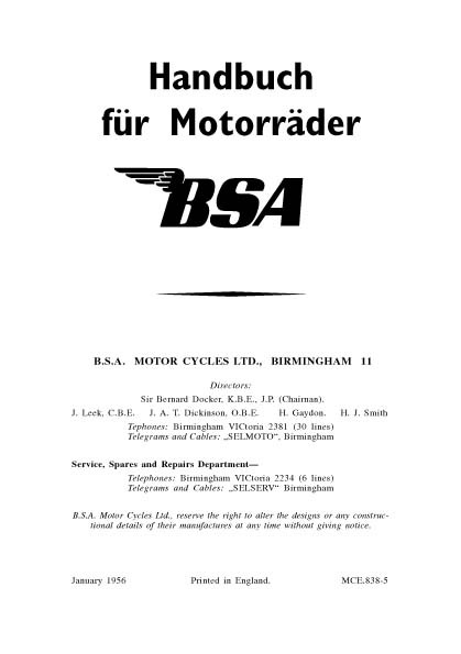 BSA Motorcycle Manuals for mechanics Giant BSA Archive