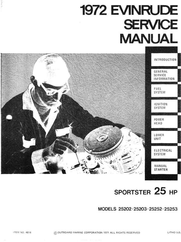 Evinrude – Johnson.1972 25Hp Models 25202 25203 25252 25253 Service and repair Manual 1972 -25 Hp  T